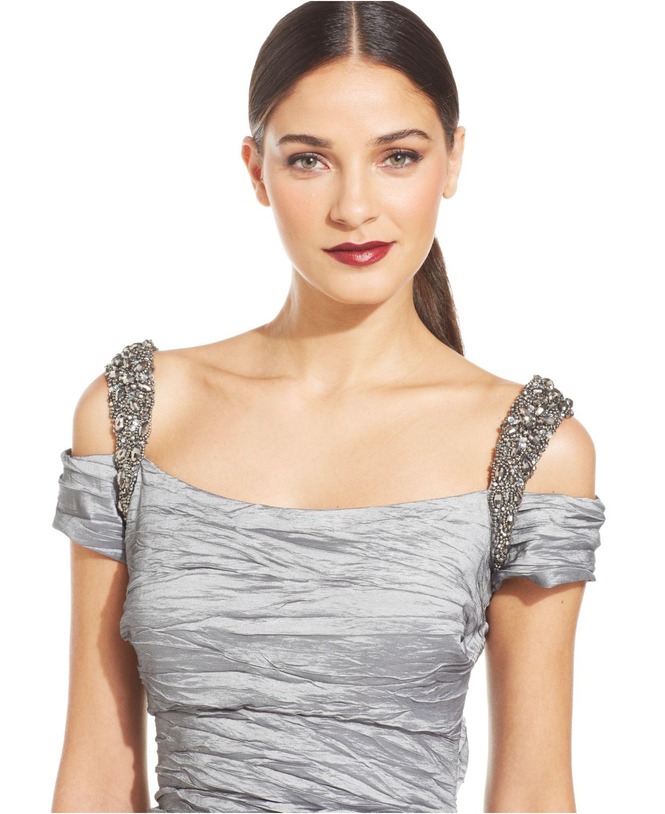 ff291563339 Alex Evenings Cold-Shoulder Embellished Crinkle Gown in Metallic - Lyst