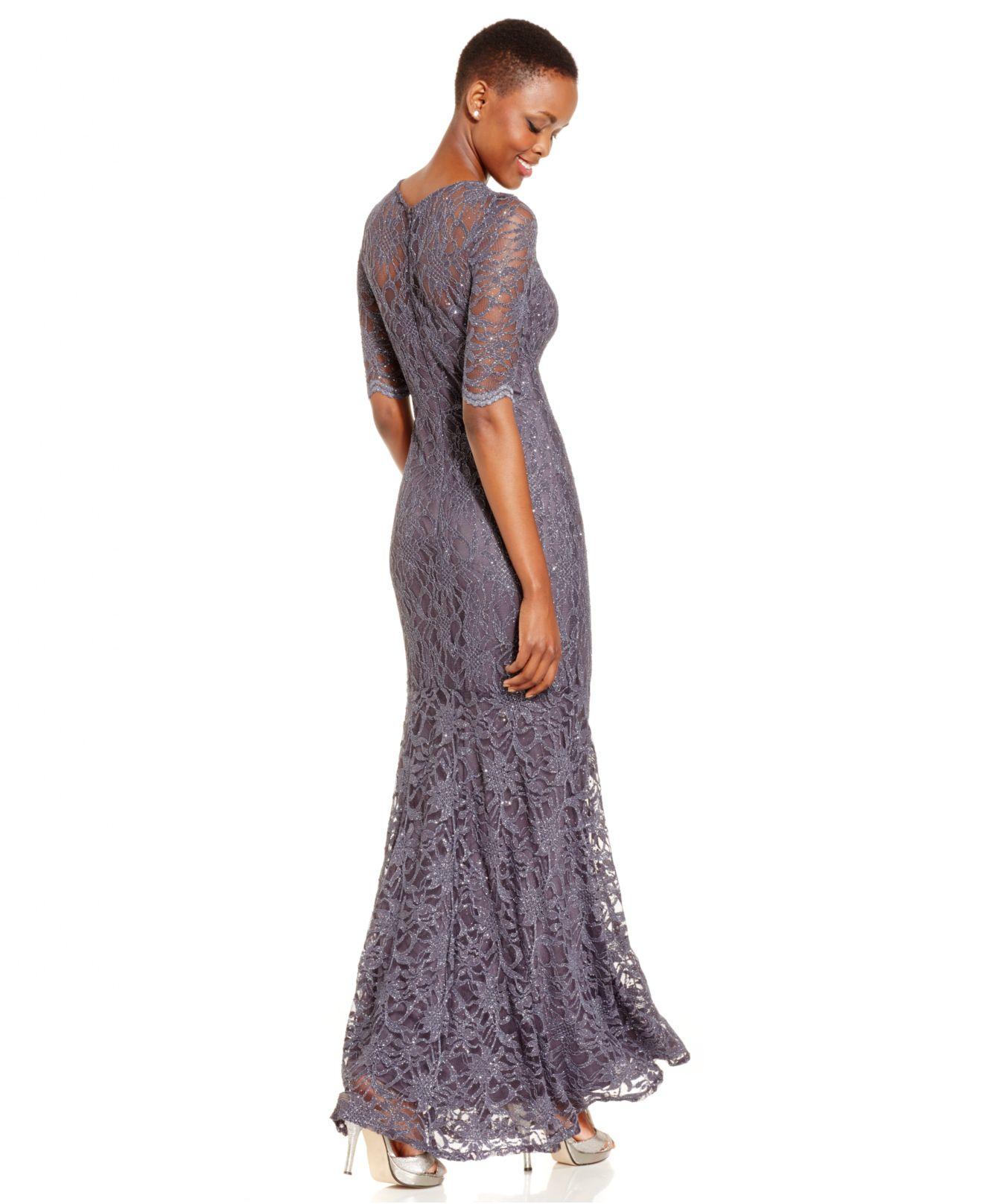 Xscape Petite Glitter Lace Mermaid Gown in Metallic | Lyst