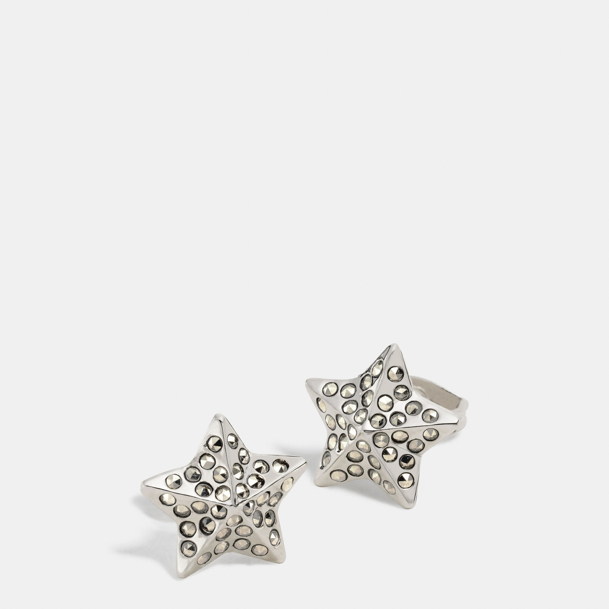 coach stud earrings lyst coach pave metal stud earrings in metallic 500