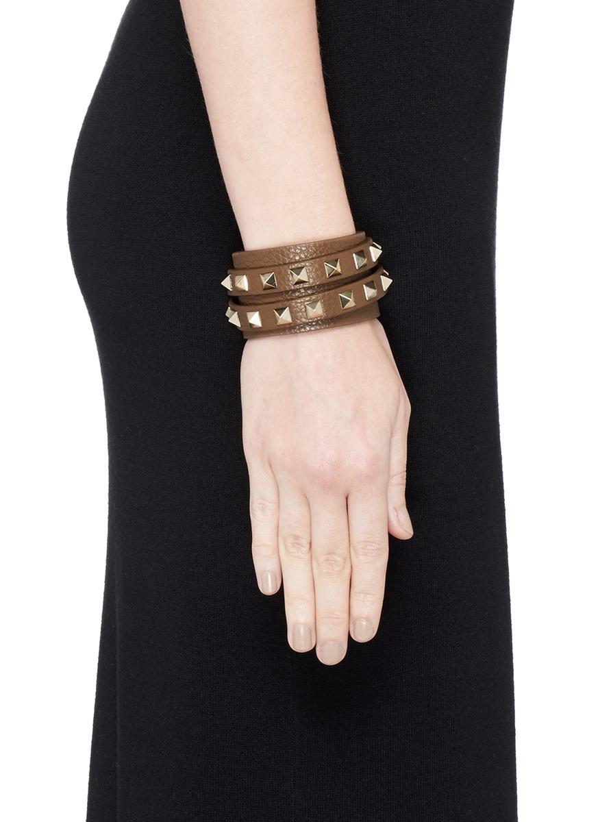 09cebd249b07 Lyst - Valentino  rockstud  Double Wrap Leather Bracelet in Brown