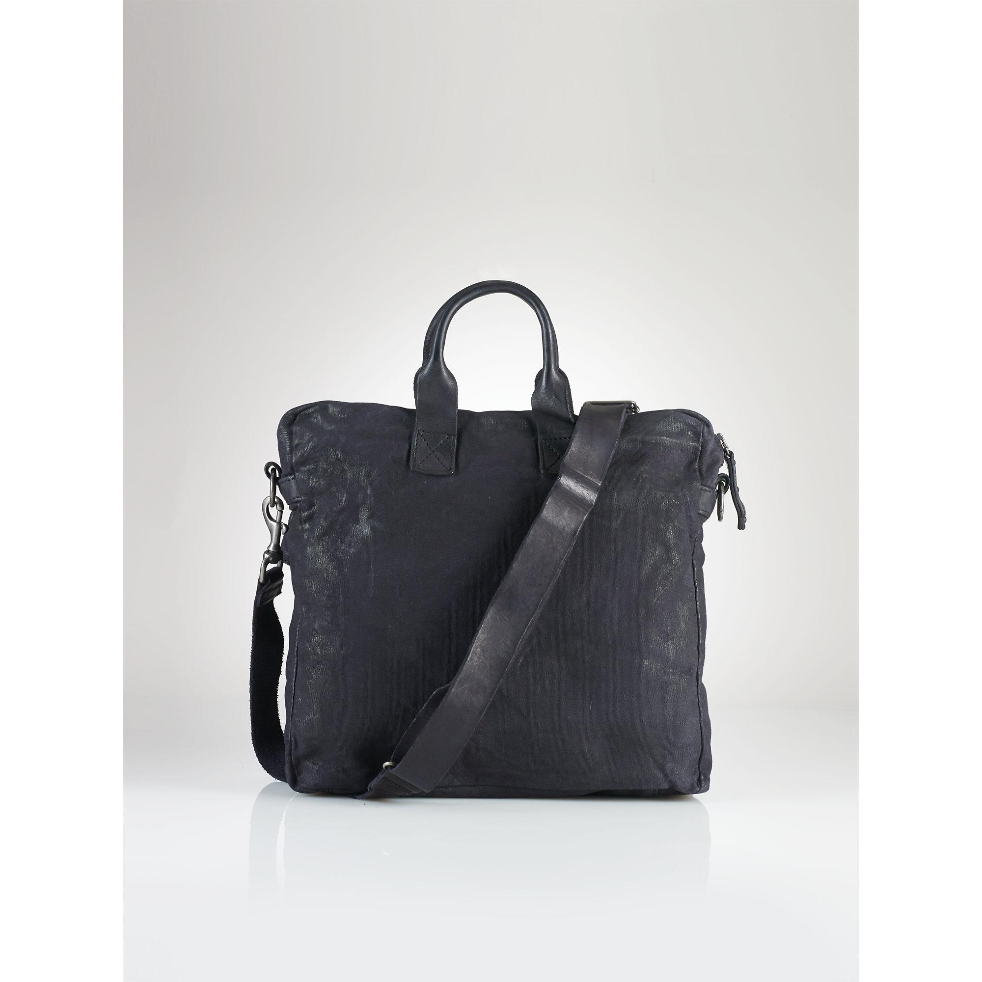 1e3aeb7c55 Lyst - Polo Ralph Lauren Canvas-Leather Messenger Bag in Black for Men