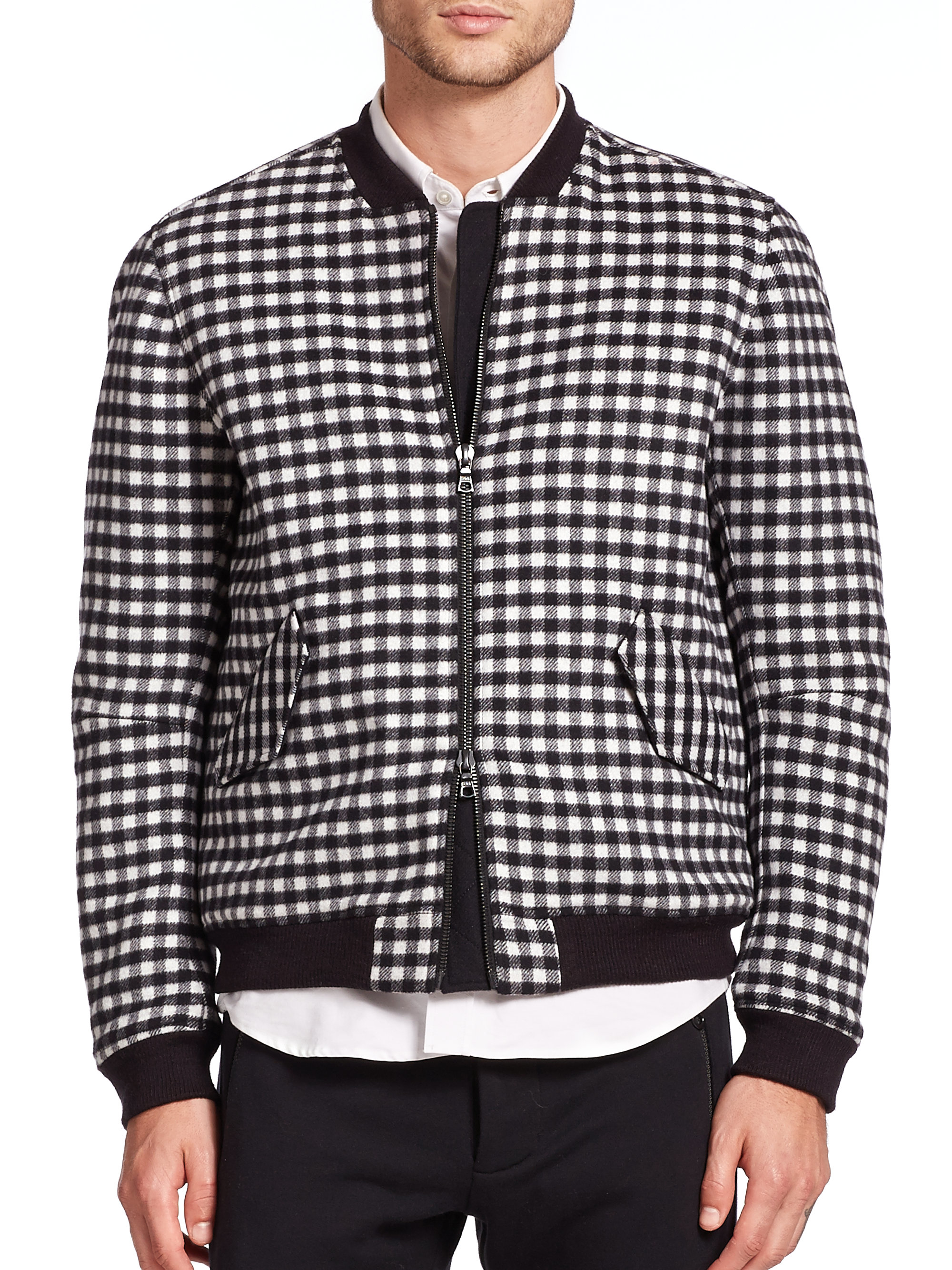 Black and white check jacket men's