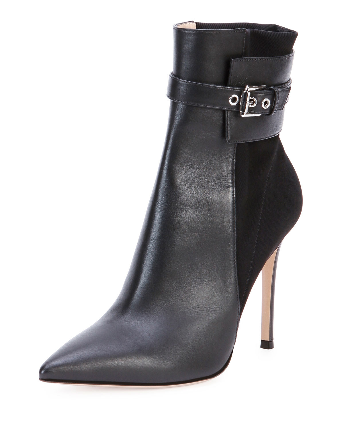 gianvito leather stretch back ankle boot in black lyst
