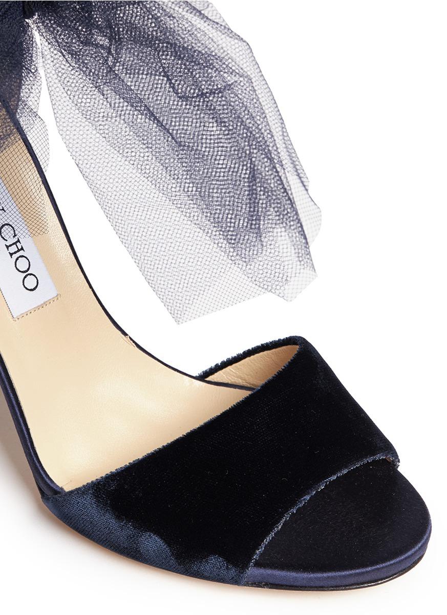 8215bdc9af8a Jimmy Choo  Lilyth 100  Tulle Bow Velvet Sandals in Blue - Lyst