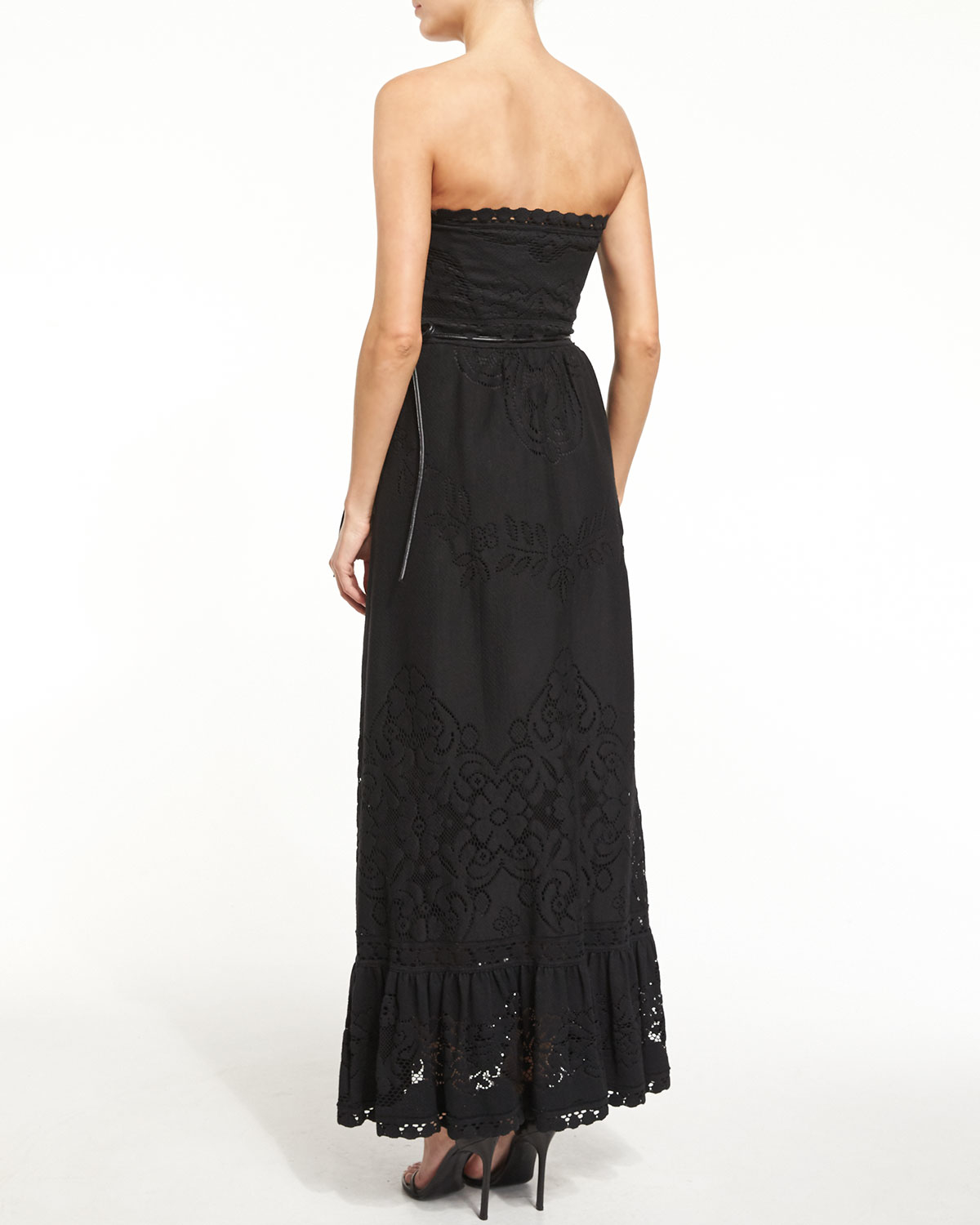 Lyst - Valentino Strapless Lace Gown W/pockets in Black