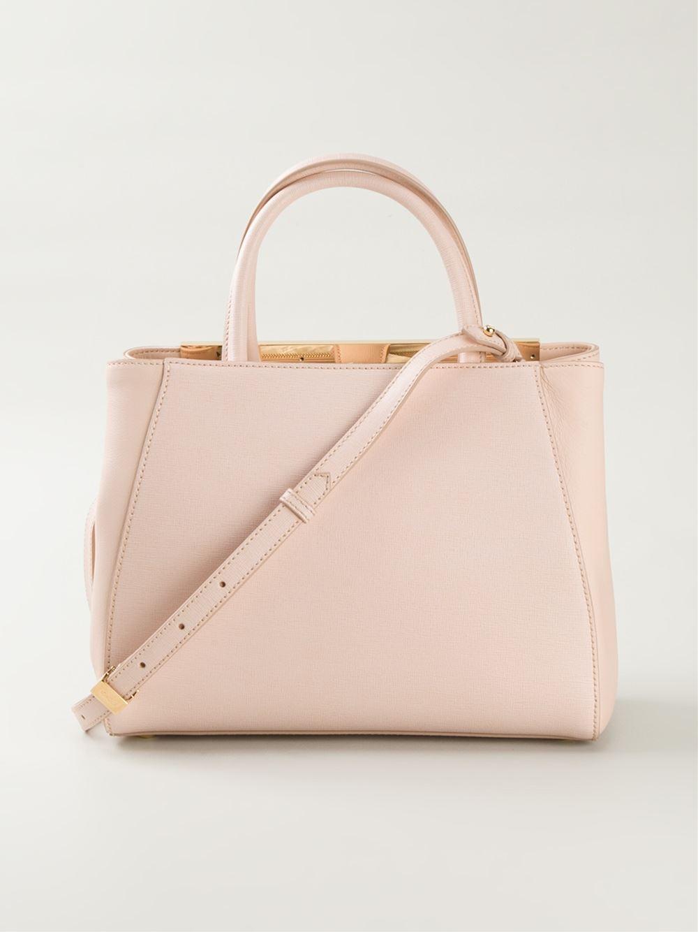 Fendi Mini 2Jours Calf-Leather Tote in Pink - Lyst cfcb98004e03d