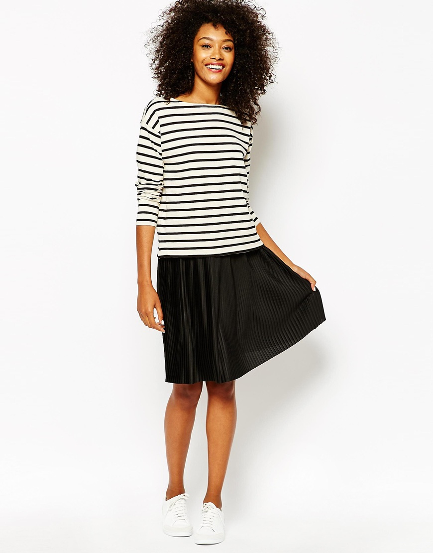 Monki Pleated Jersey Midi Skirt in Black | Lyst