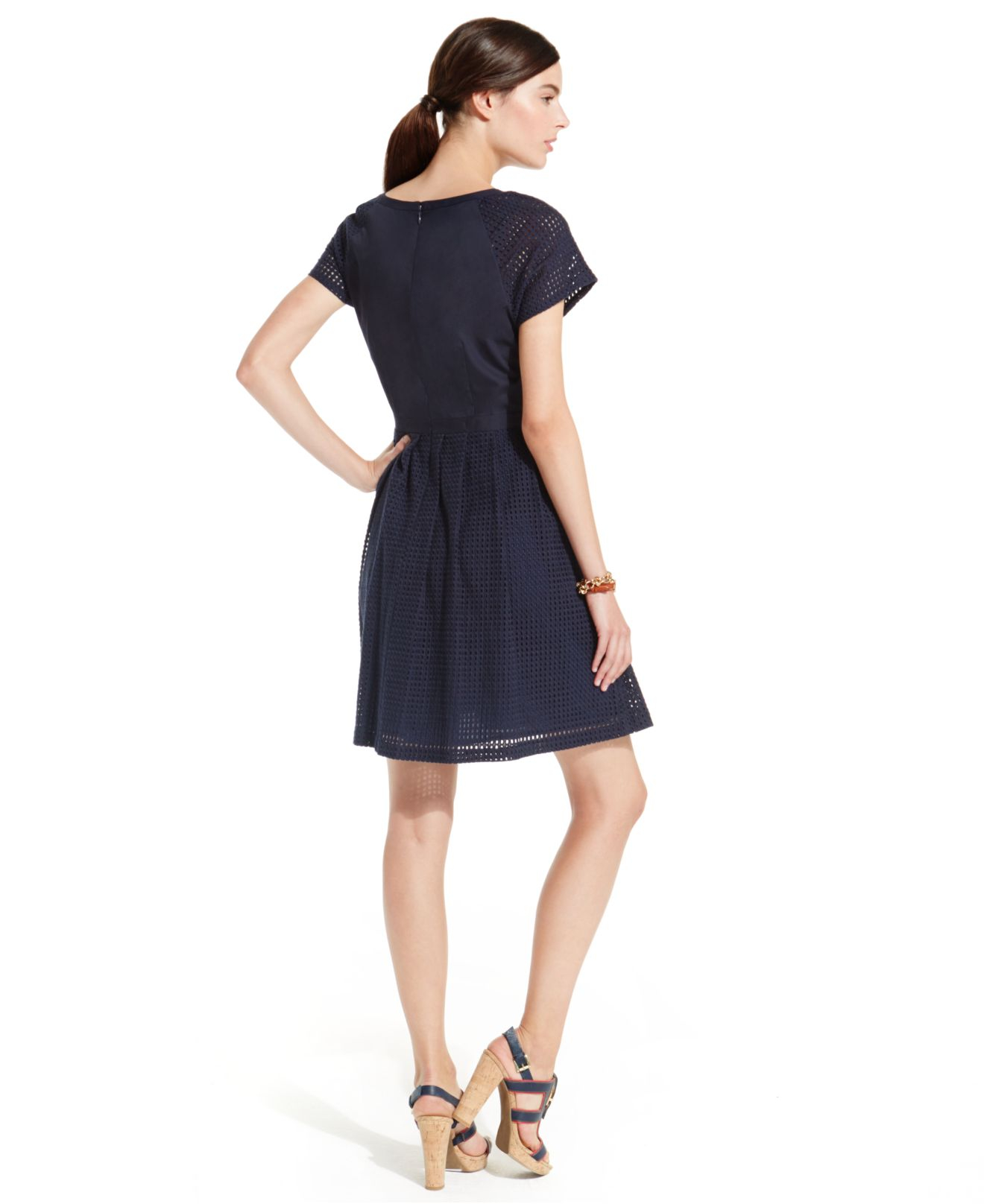 34a6ec5400 Tommy Hilfiger Pleated Eyelet Fit & Flare Dress in Blue - Lyst