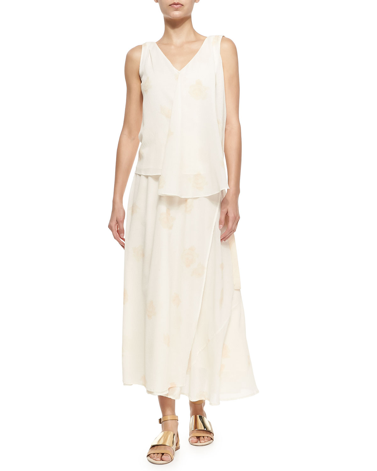 band of outsiders printed maxi wrap skirt in white lyst
