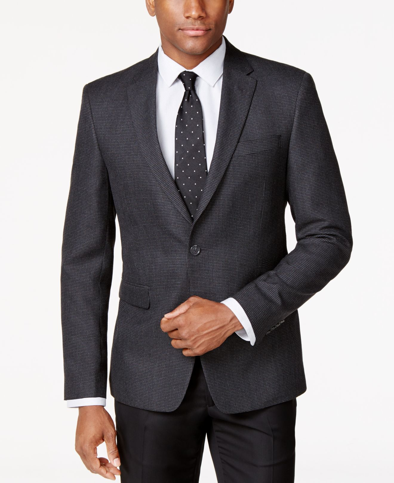 Tommy hilfiger Charcoal Neat Classic-fit Sport Coat in Gray for ...