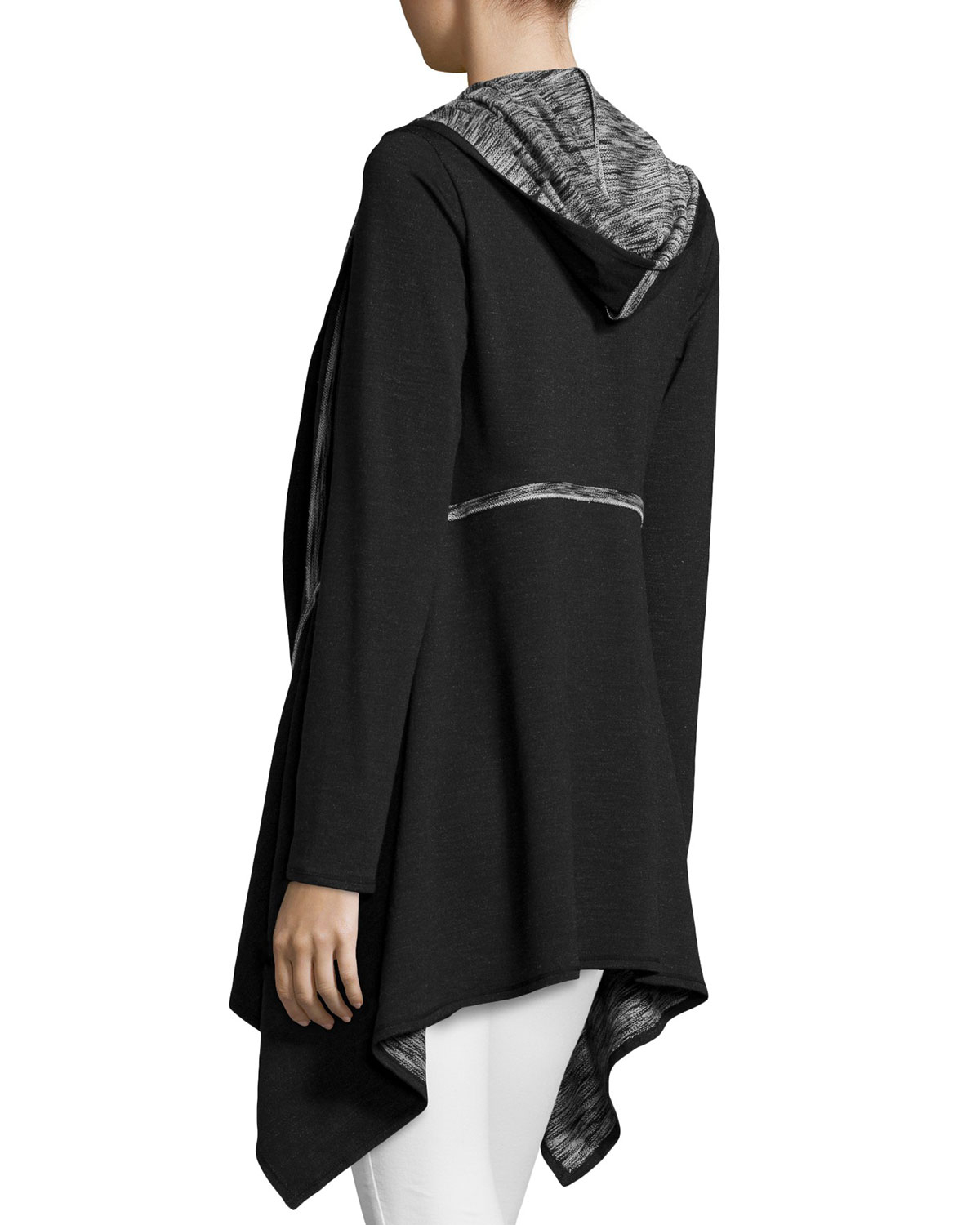 Max studio Asymmetric Hooded Cardigan in Black | Lyst