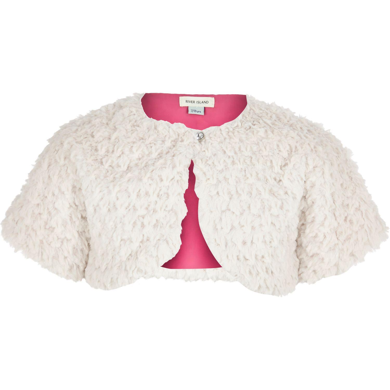 4e6cd5b98 River Island Girls Cream Faux Fur Shrug in Pink - Lyst