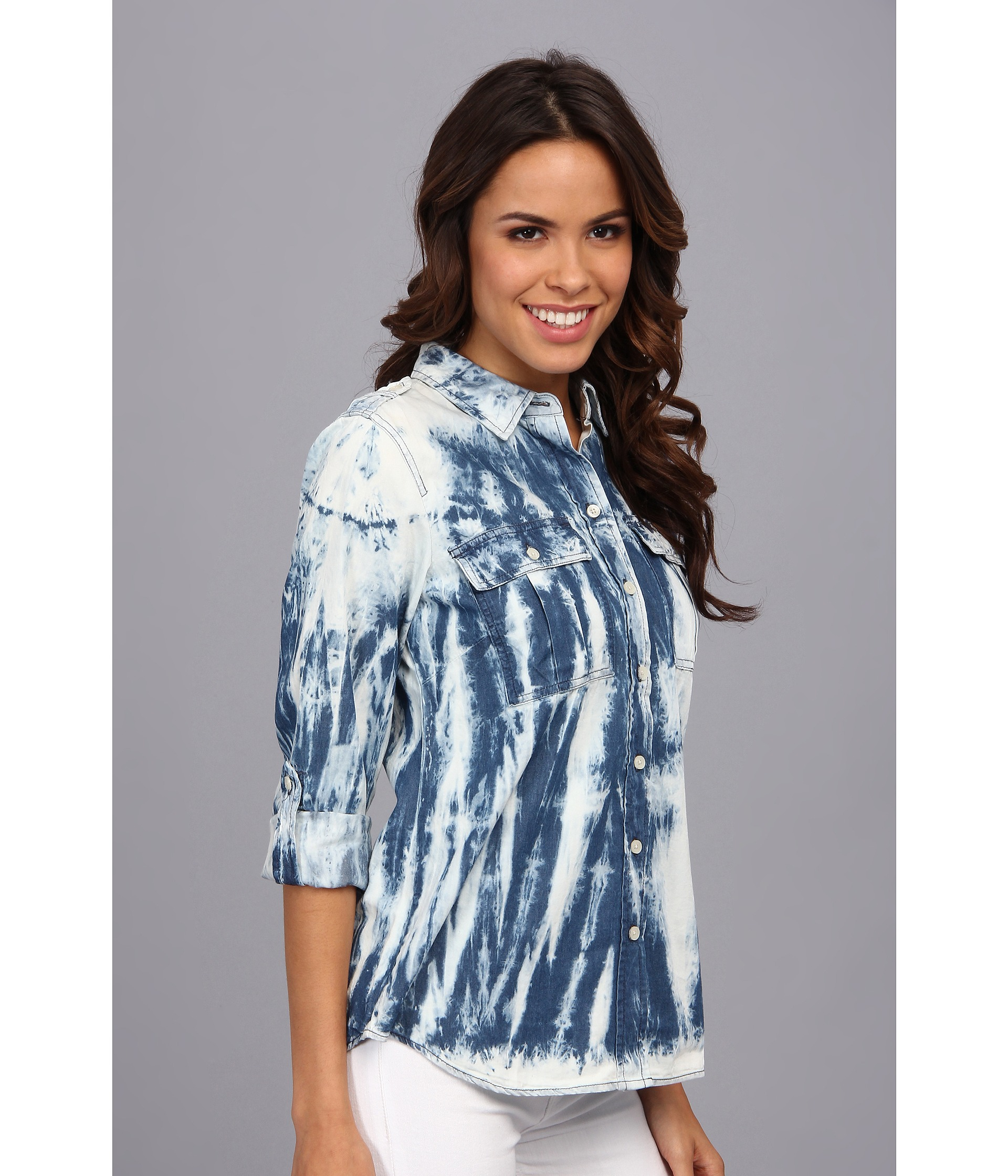 138c0c6d47f Lyst - MICHAEL Michael Kors Vintage Tie Dye Denim Shirt in Blue