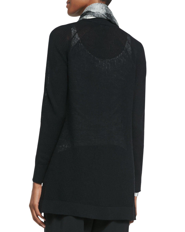 Eileen fisher Washable Wool Long Cardigan in Black | Lyst