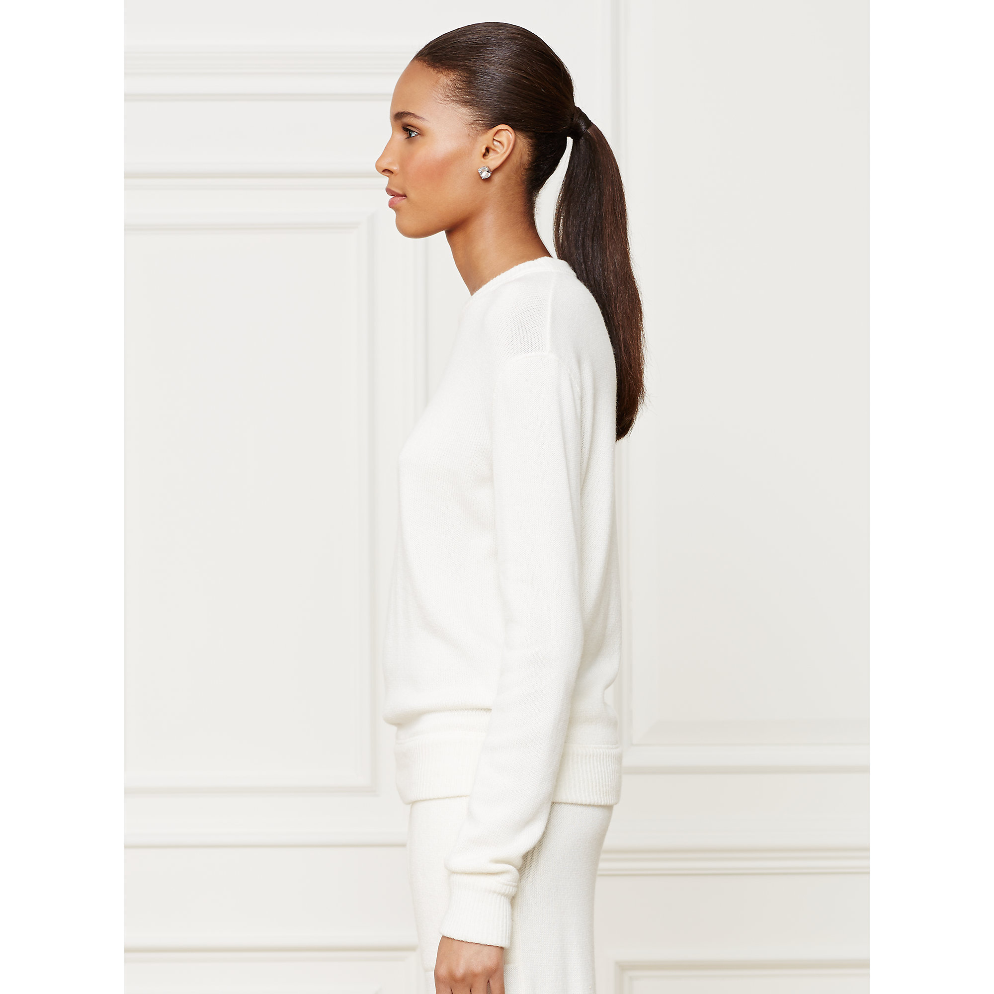 Ralph lauren collection Cashmere Crewneck Sweater in White | Lyst