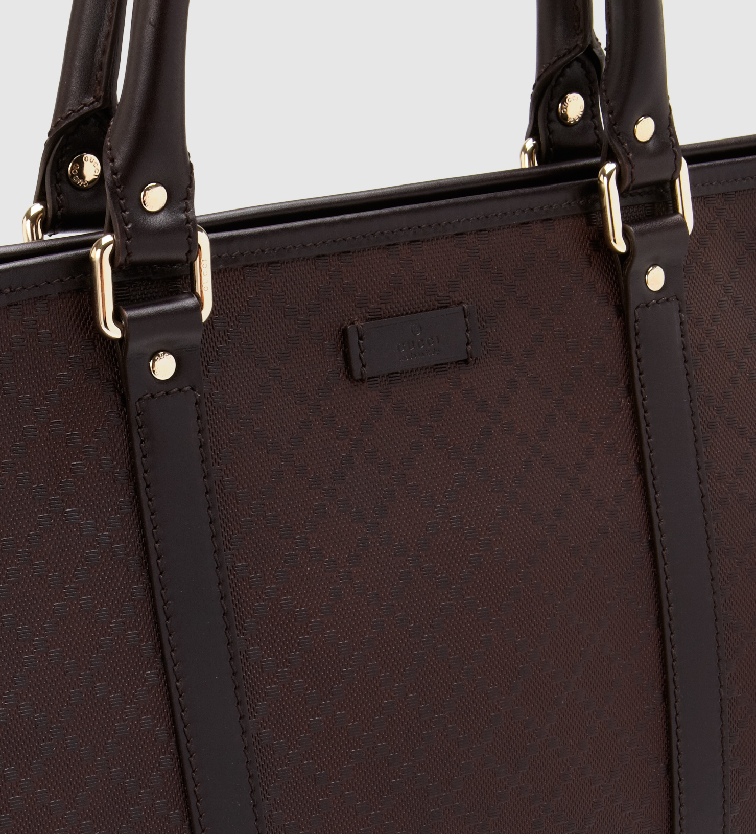 f371e16a9198 Gucci Medium Brown Diamante Leather Top Handle Tote in Brown - Lyst