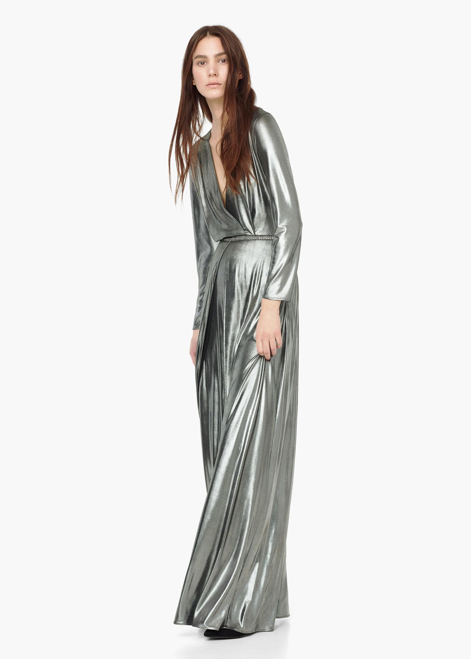 Mango Wrap Front Maxi Dress in Metallic - Lyst