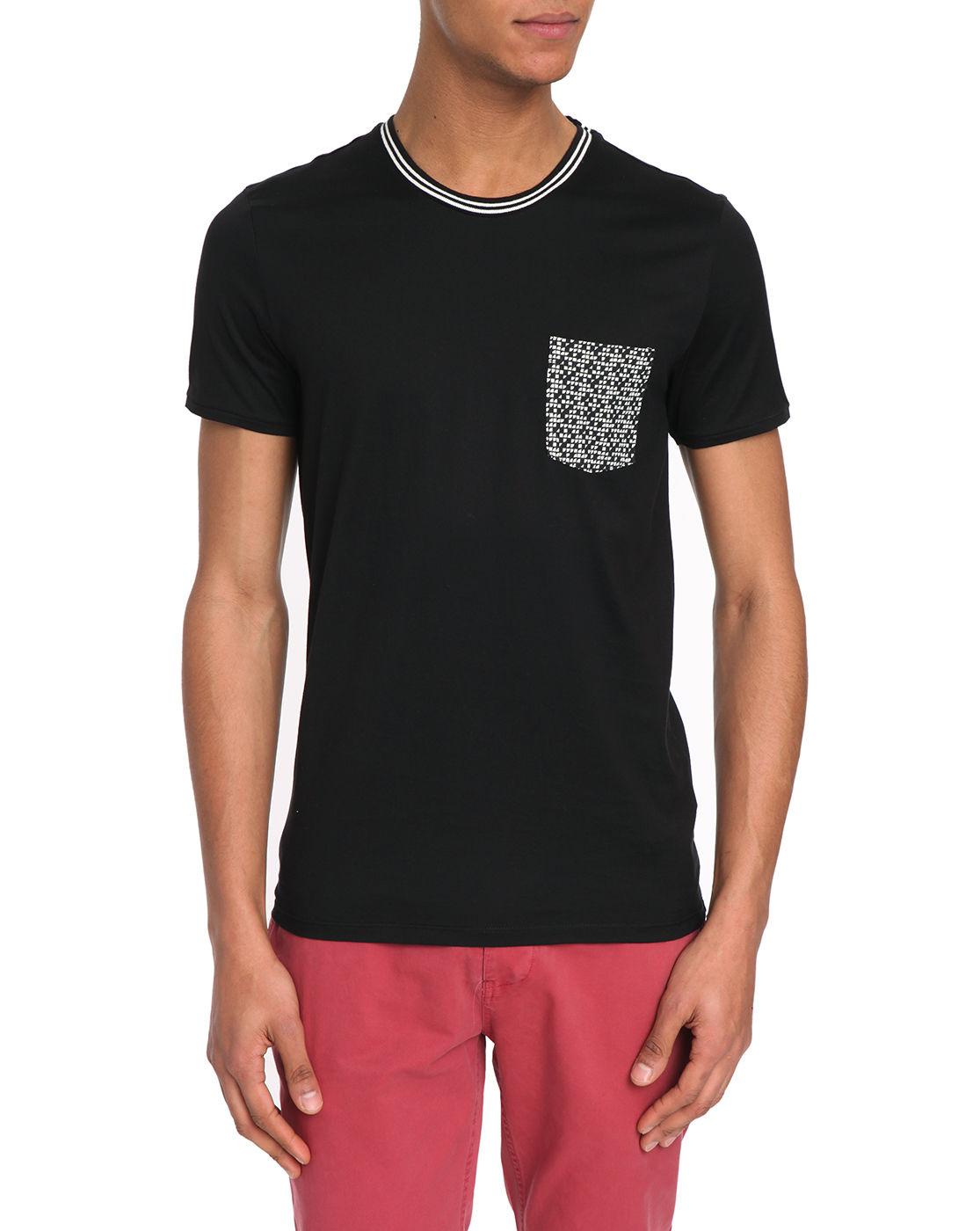 ikks contrast pocket black t shirt in black for men lyst. Black Bedroom Furniture Sets. Home Design Ideas