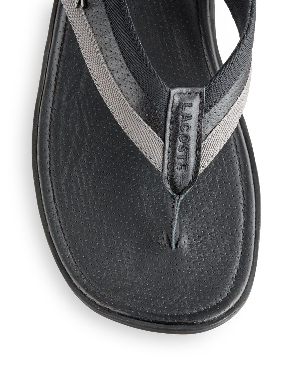 Lyst Lacoste Mixedmedia Casual Thong Sandals In Gray For Men