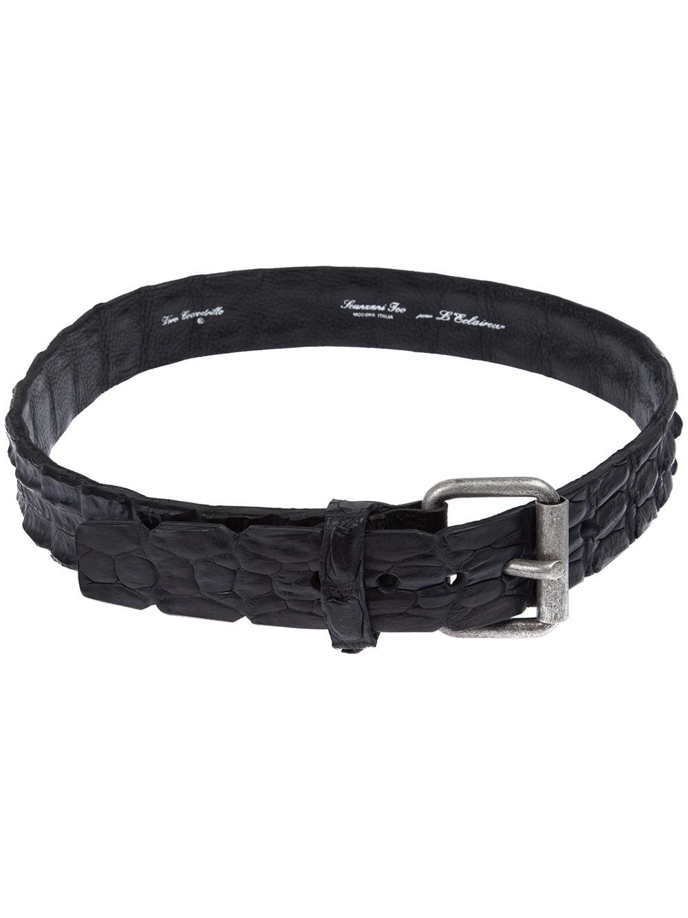 scunzani ivo crocodile leather belt in black lyst