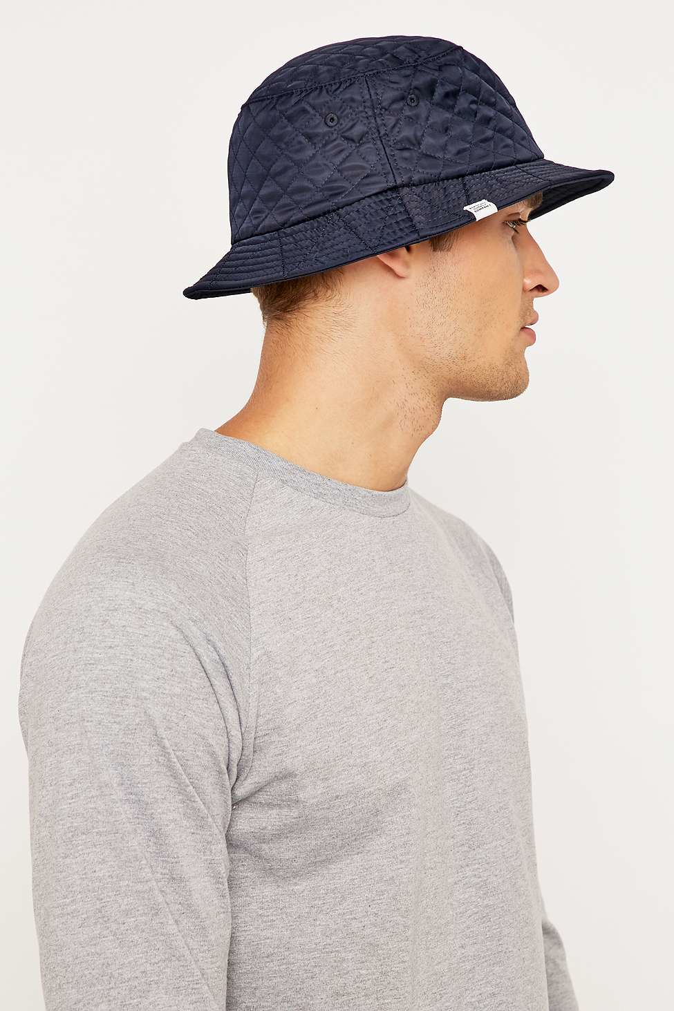 0e821b34a2d ... czech herschel supply co. quilted lake navy bucket hat in blue for men  lyst 9a7ed