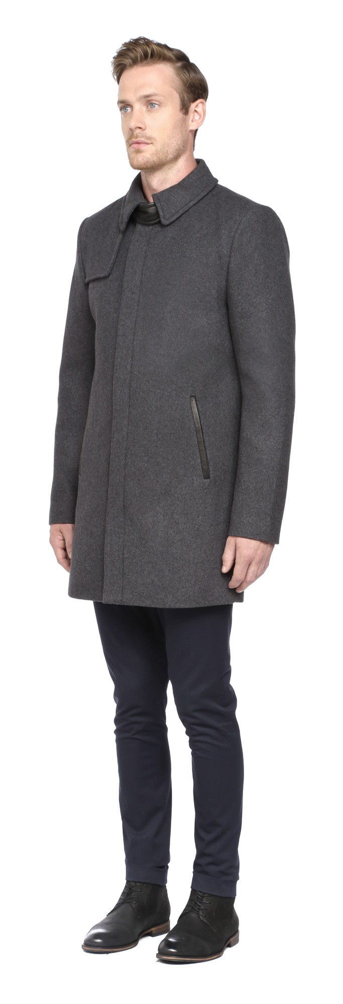 Soia &amp kyo Emery Charcoal Wool Coat in Gray for Men | Lyst
