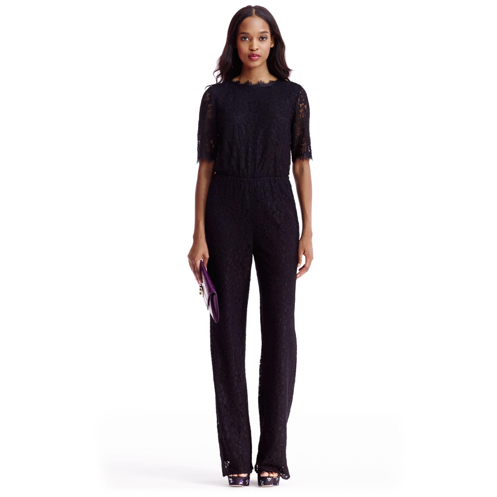02a972036118 Diane von Furstenberg Dvf Kendra Lace Open Back Jumpsuit in Black - Lyst