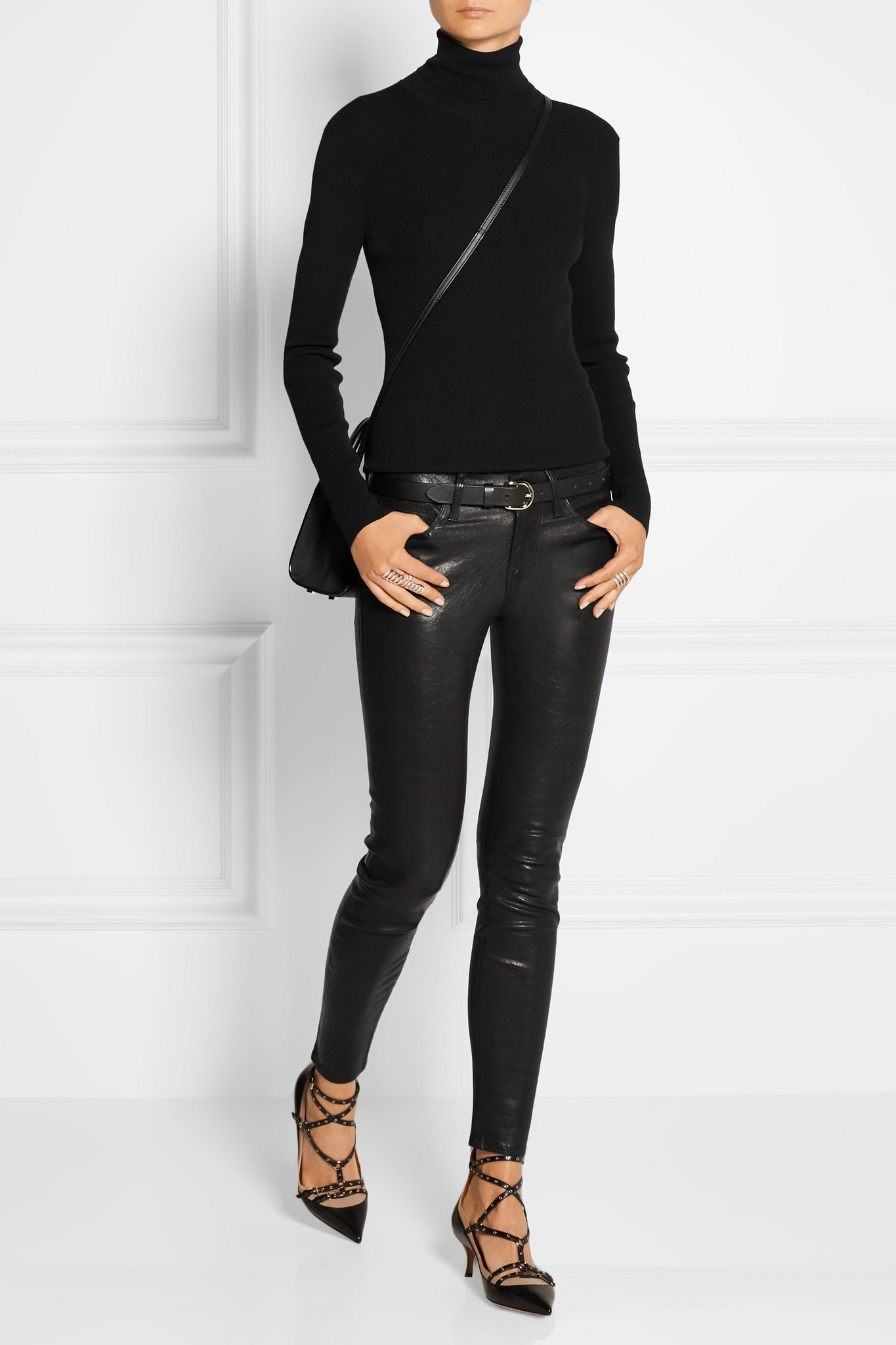 Lyst Frame Le Skinny Stretch Leather Pants In Black