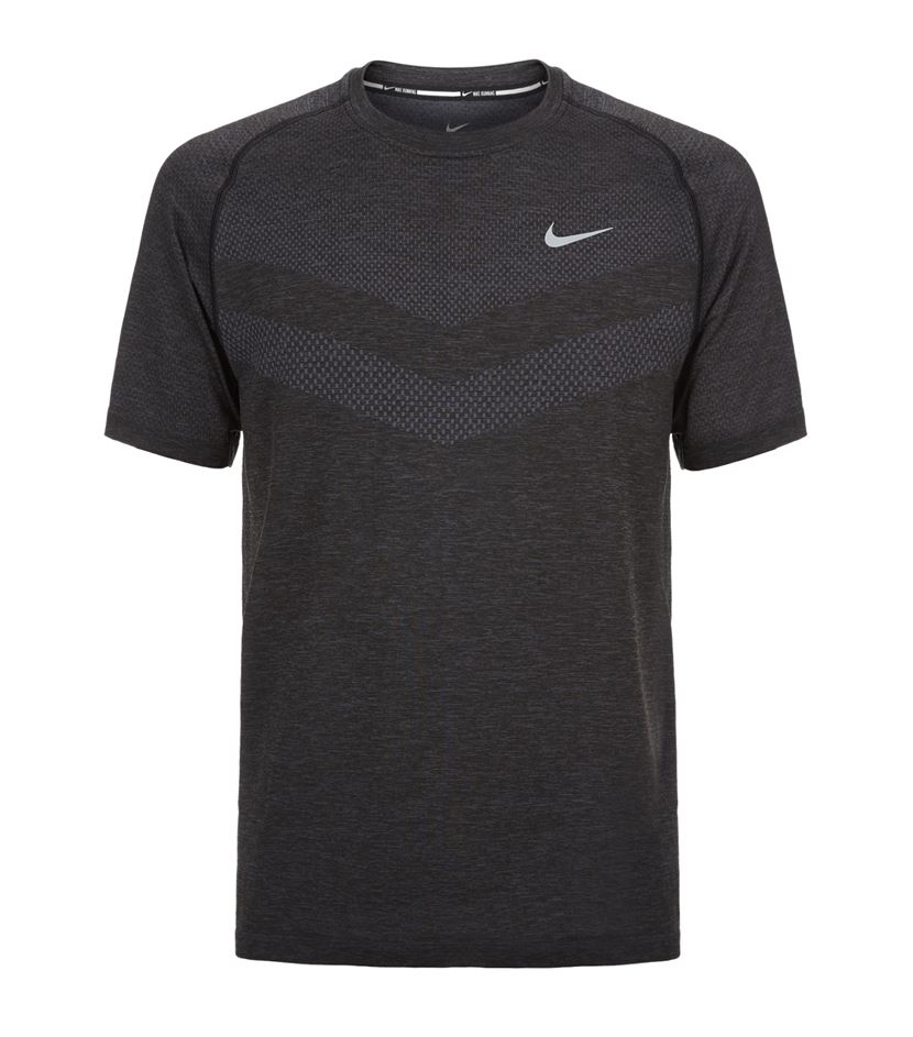 Nike Dri Fit Knit Running Shirt In Black For Men Lyst