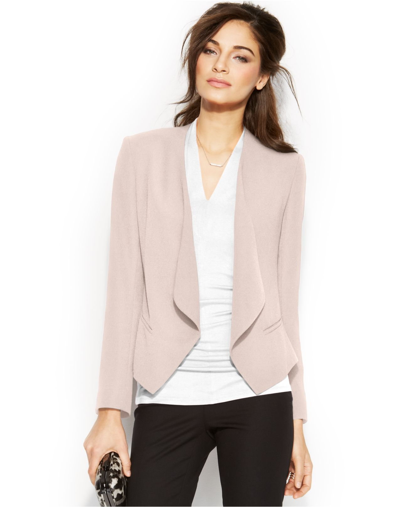 83cdca554dd0 Lyst - Vince Camuto Draped Front Blazer in Pink