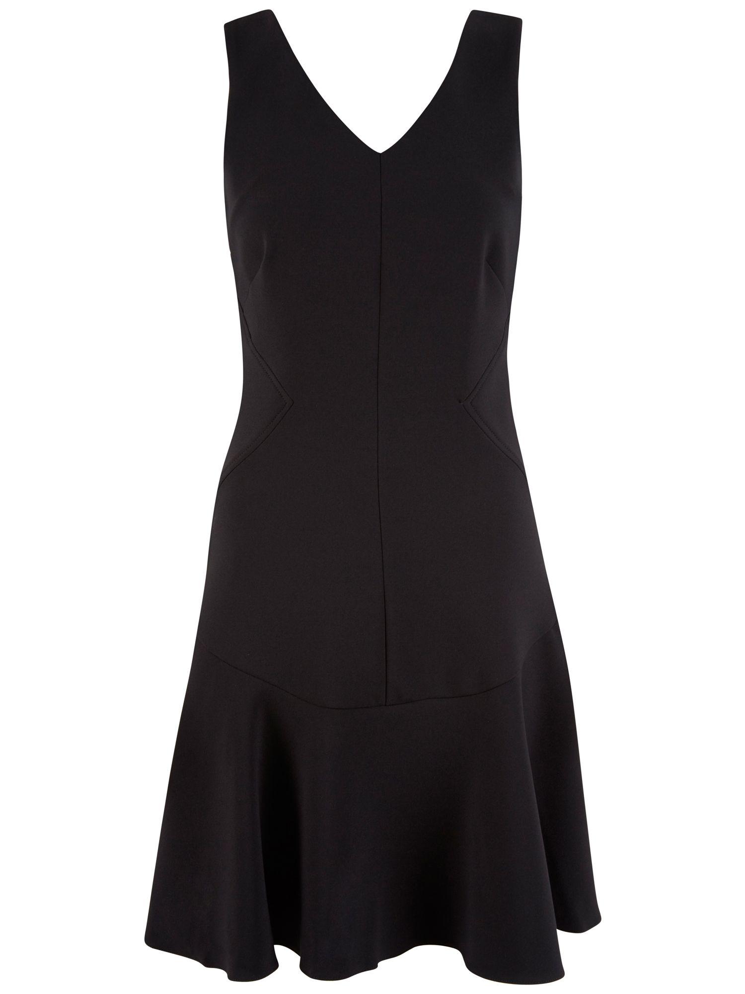 Almari V Neck Flared Skirt Dress In Black Lyst