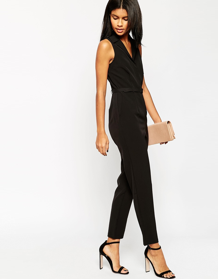 Asos Tailored Jumpsuit With Shirt Detail in Black | Lyst