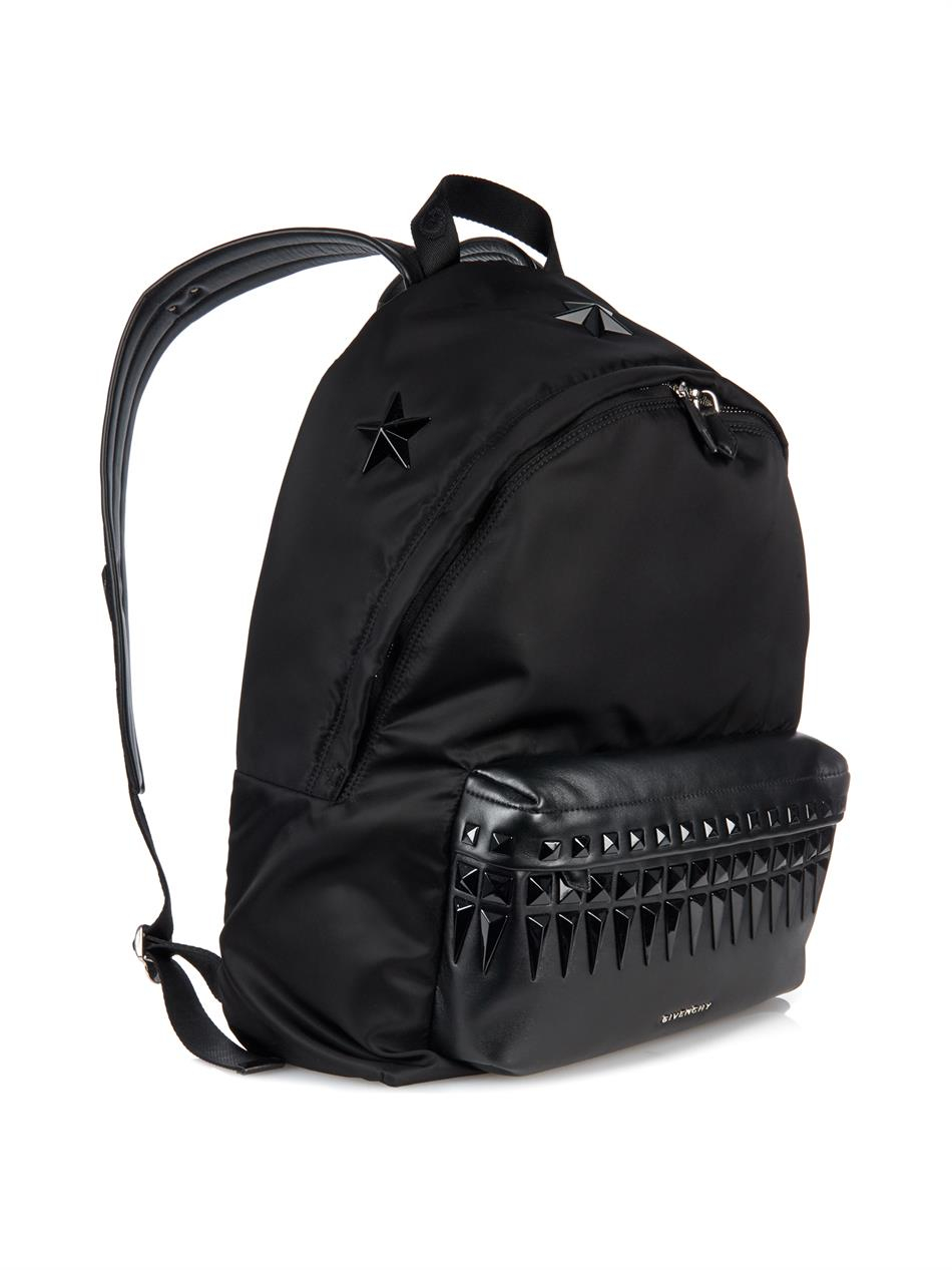 Lyst Givenchy Leather And Nylon Studded Backpack In