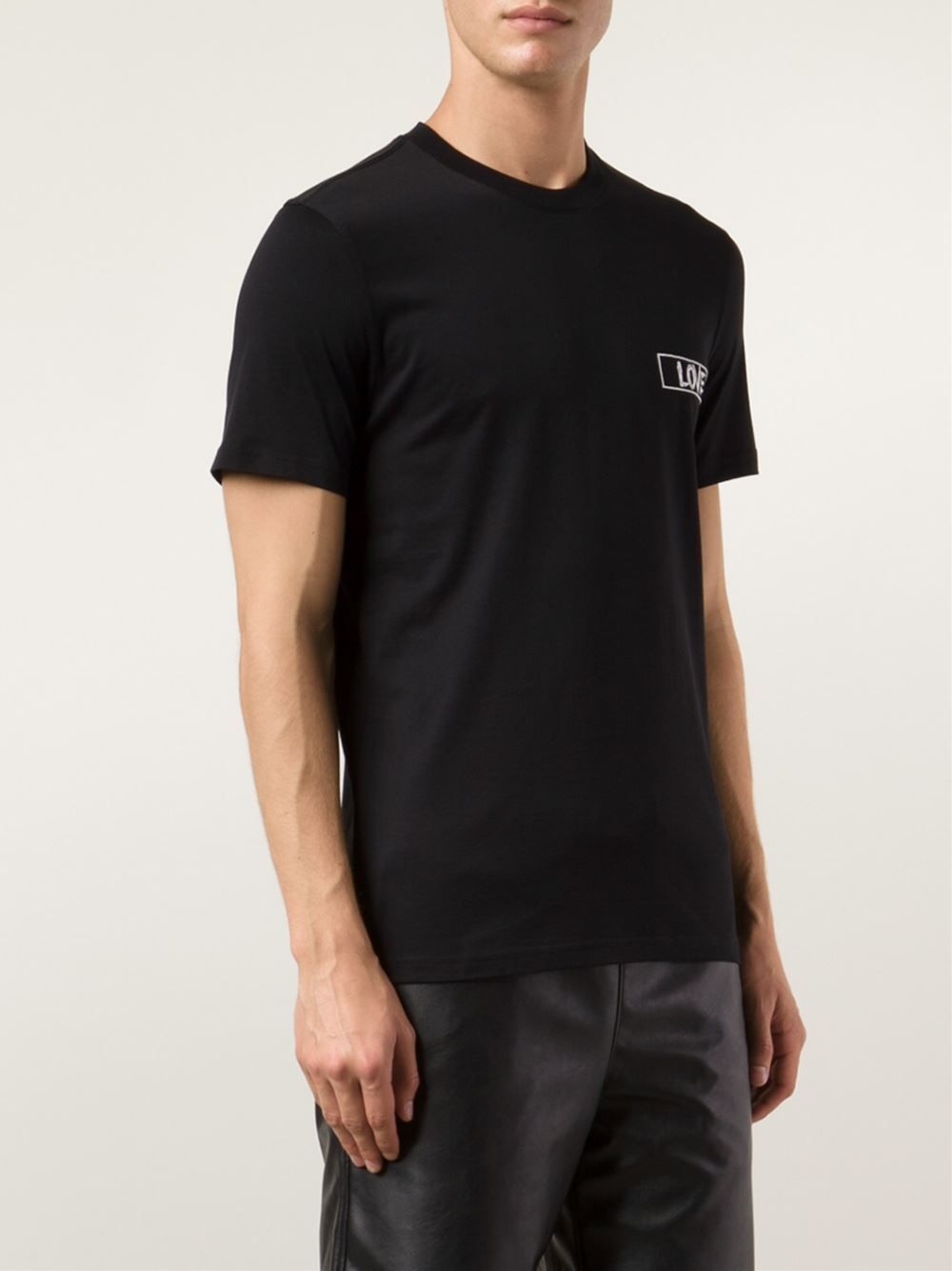 givenchy love embroidered t shirt in black for men lyst. Black Bedroom Furniture Sets. Home Design Ideas