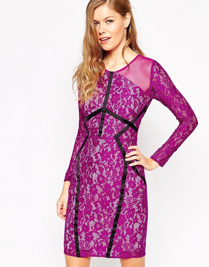 attractivedesigns shop for best fine quality Forever Unique Purple Jeannie Bodycon Lace Dress