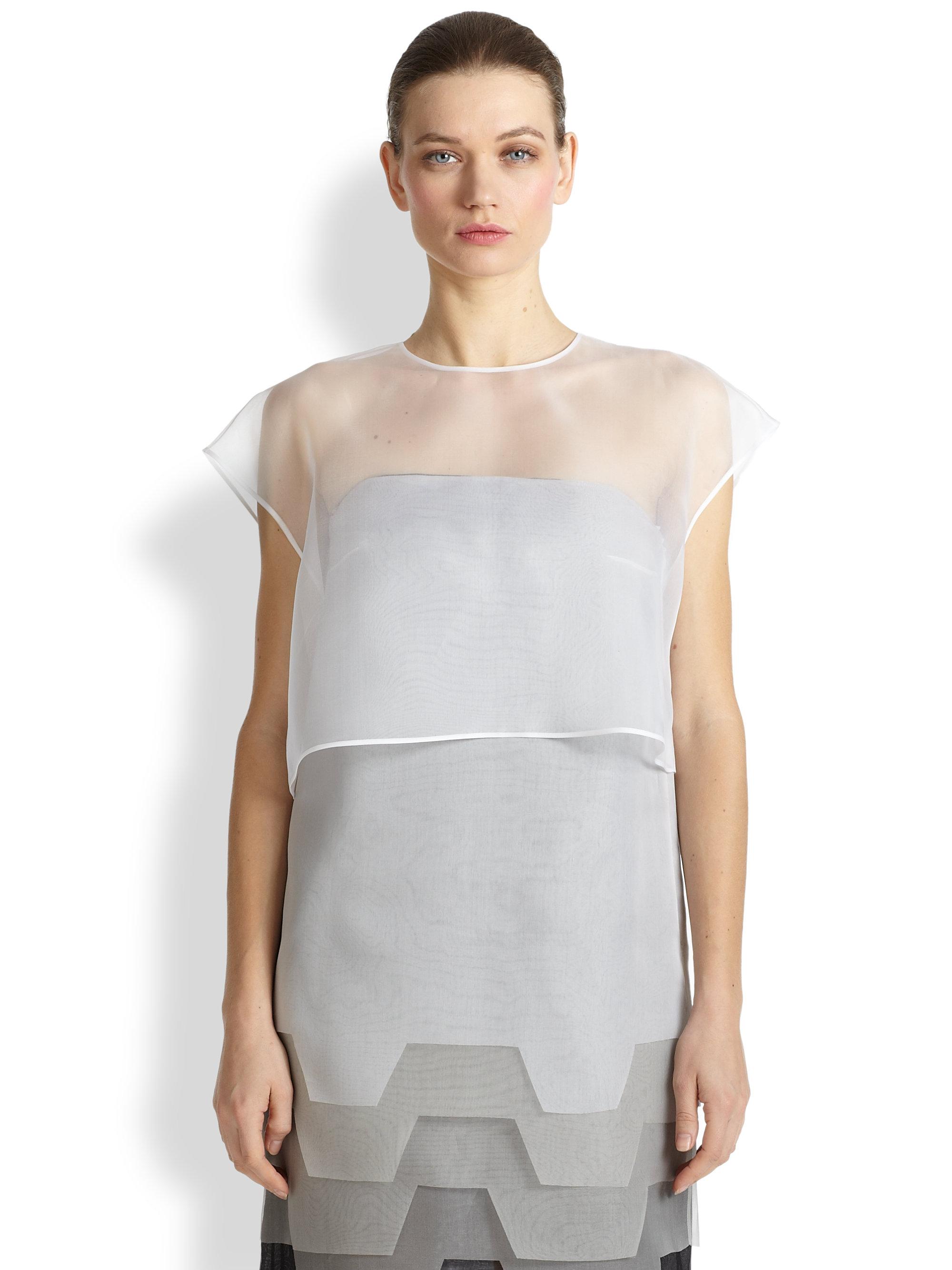 801197a14078b Lyst - Fendi Silk Organza Cropped Top in White