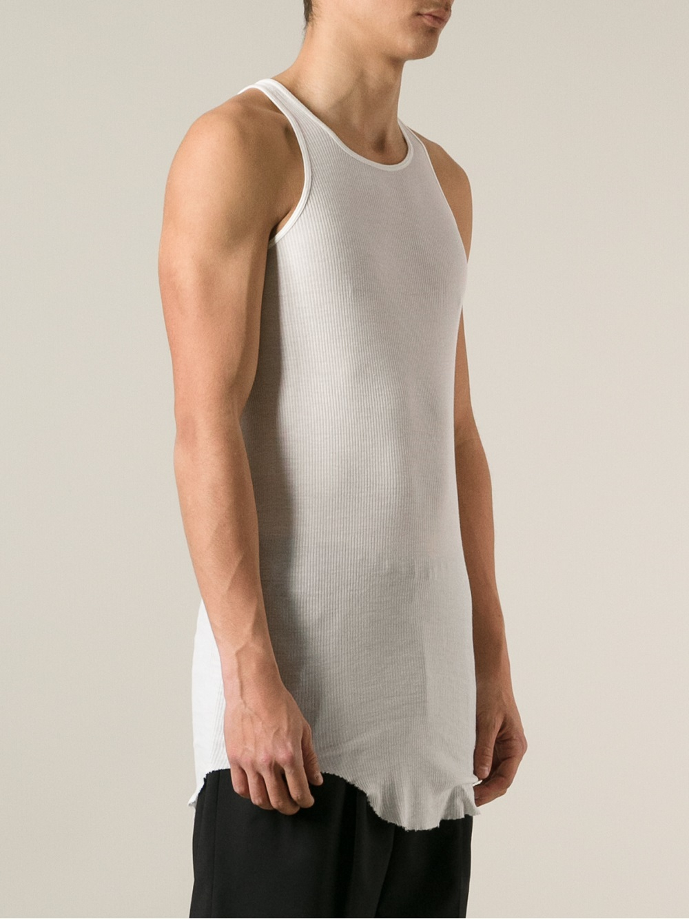 7ac9551ba8034 Lyst - Rick Owens Ribbed Tank Top in White for Men