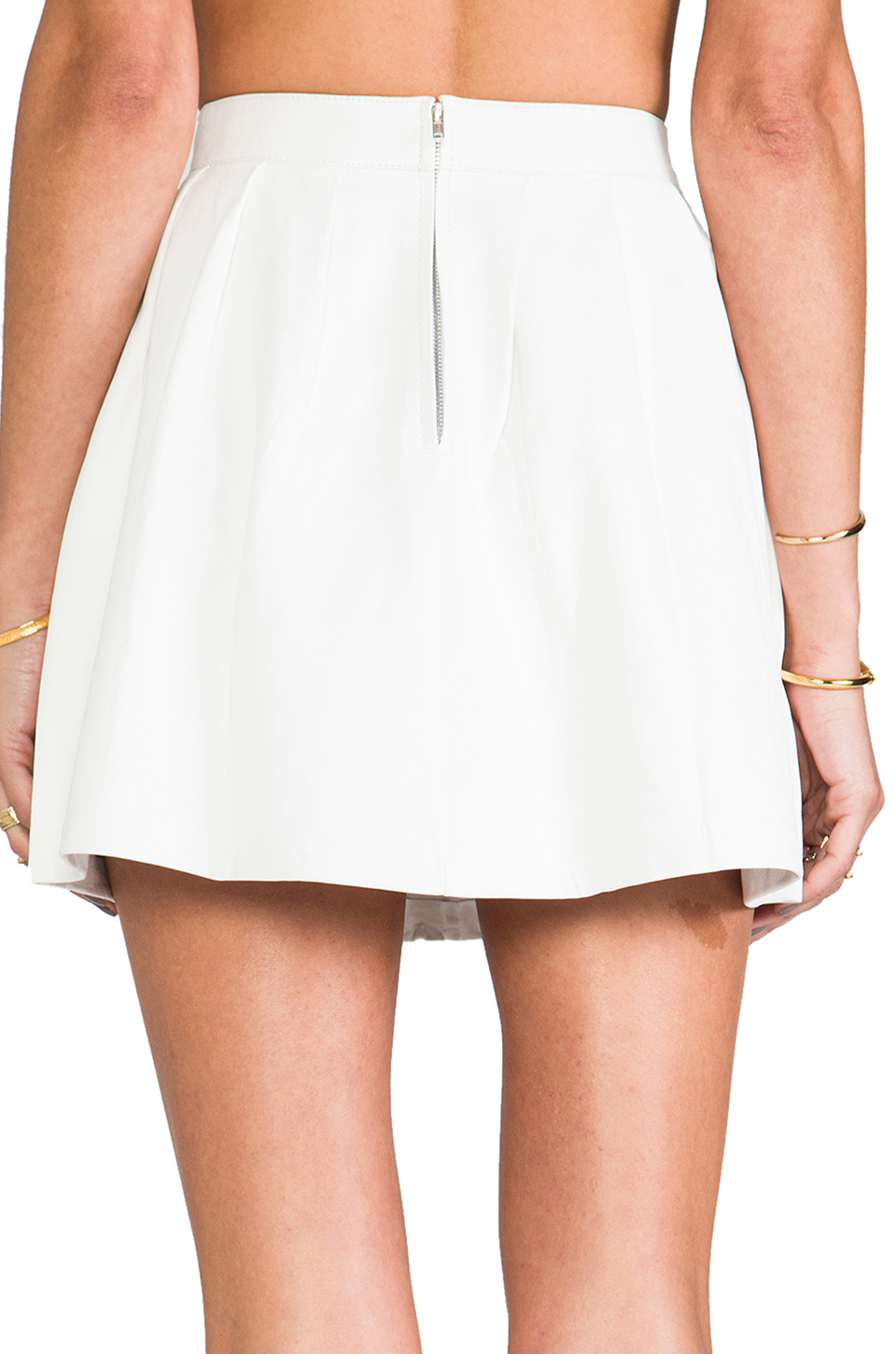 this is a song strike plain leather mini skirt in
