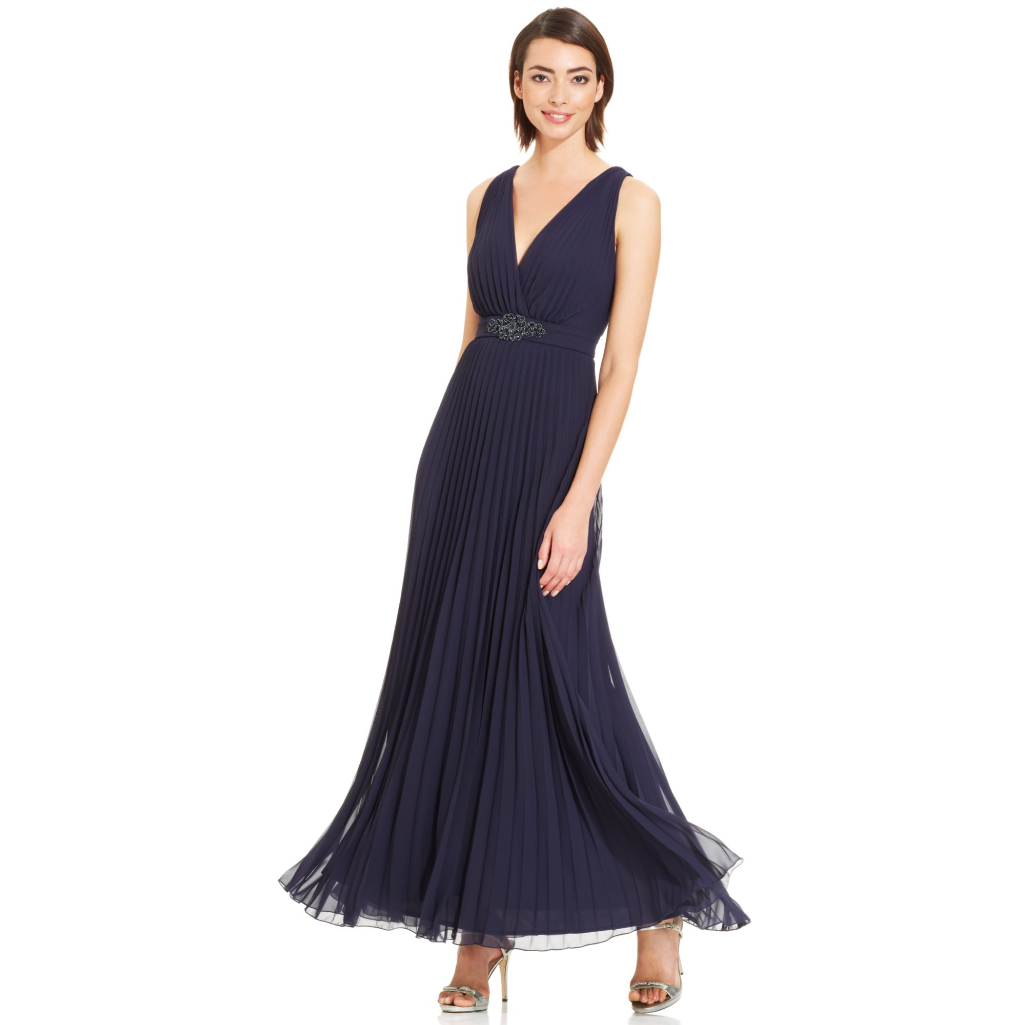 Xscape Sleeveless Pleated Embellished Gown in Blue (Navy ...