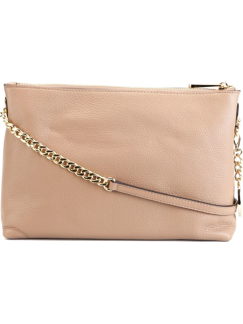 5f2d138ab32 MICHAEL Michael Kors Logo-Charm Leather Cross-Body Bag in Natural - Lyst