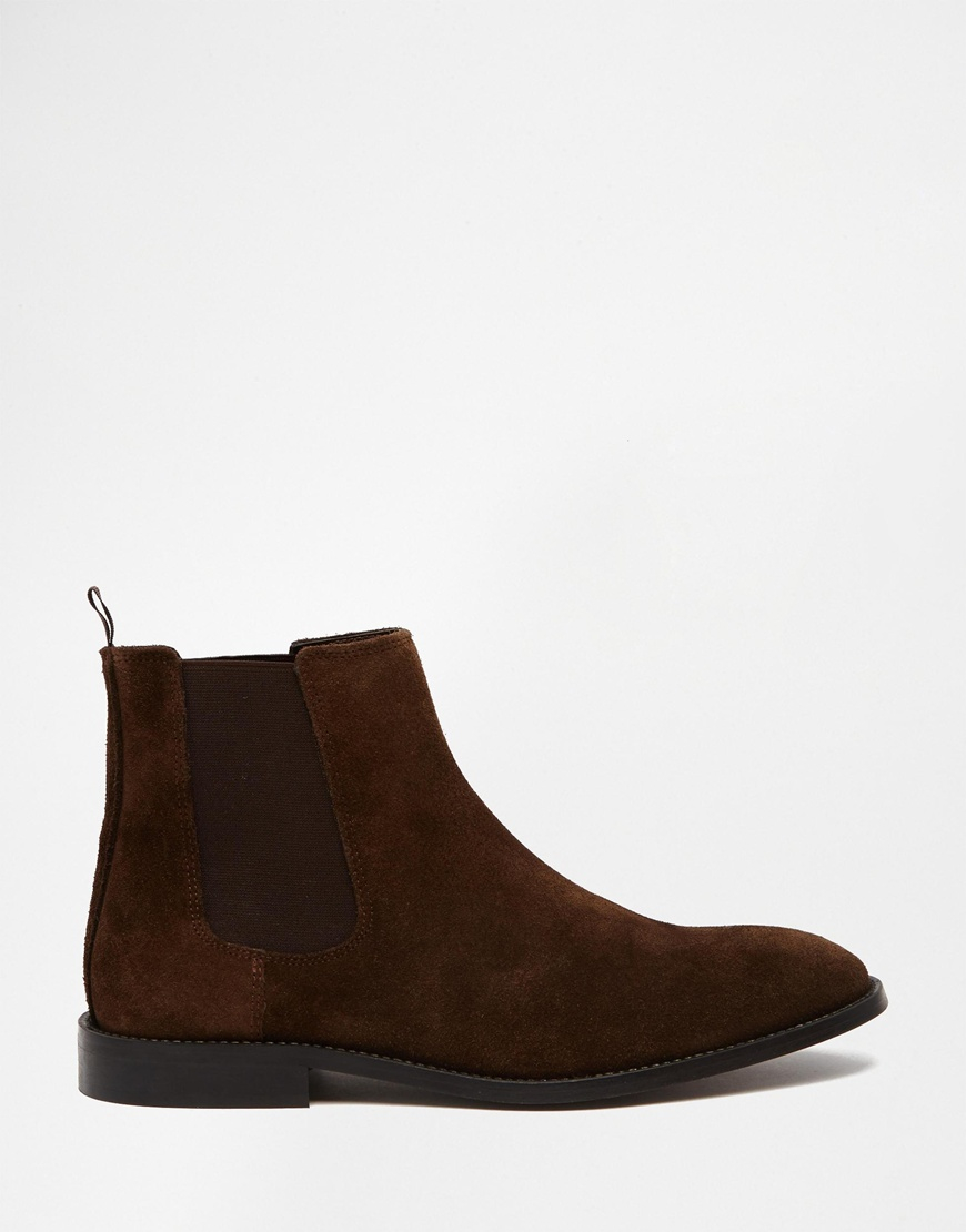 asos chelsea boots in suede in brown for lyst