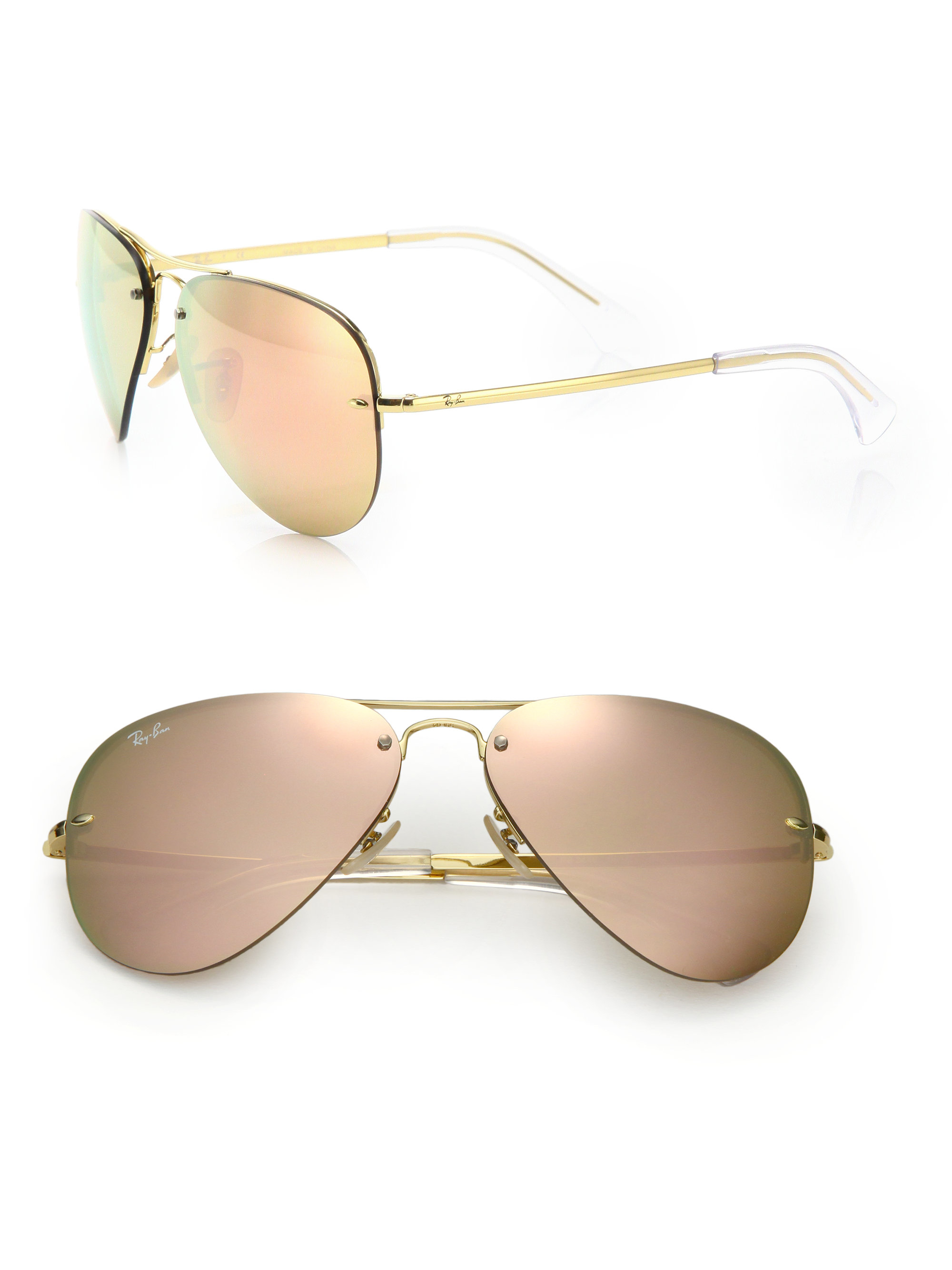 Ray Ban Pilot Metal Aviator Mirrored Sunglasses In Pink Lyst