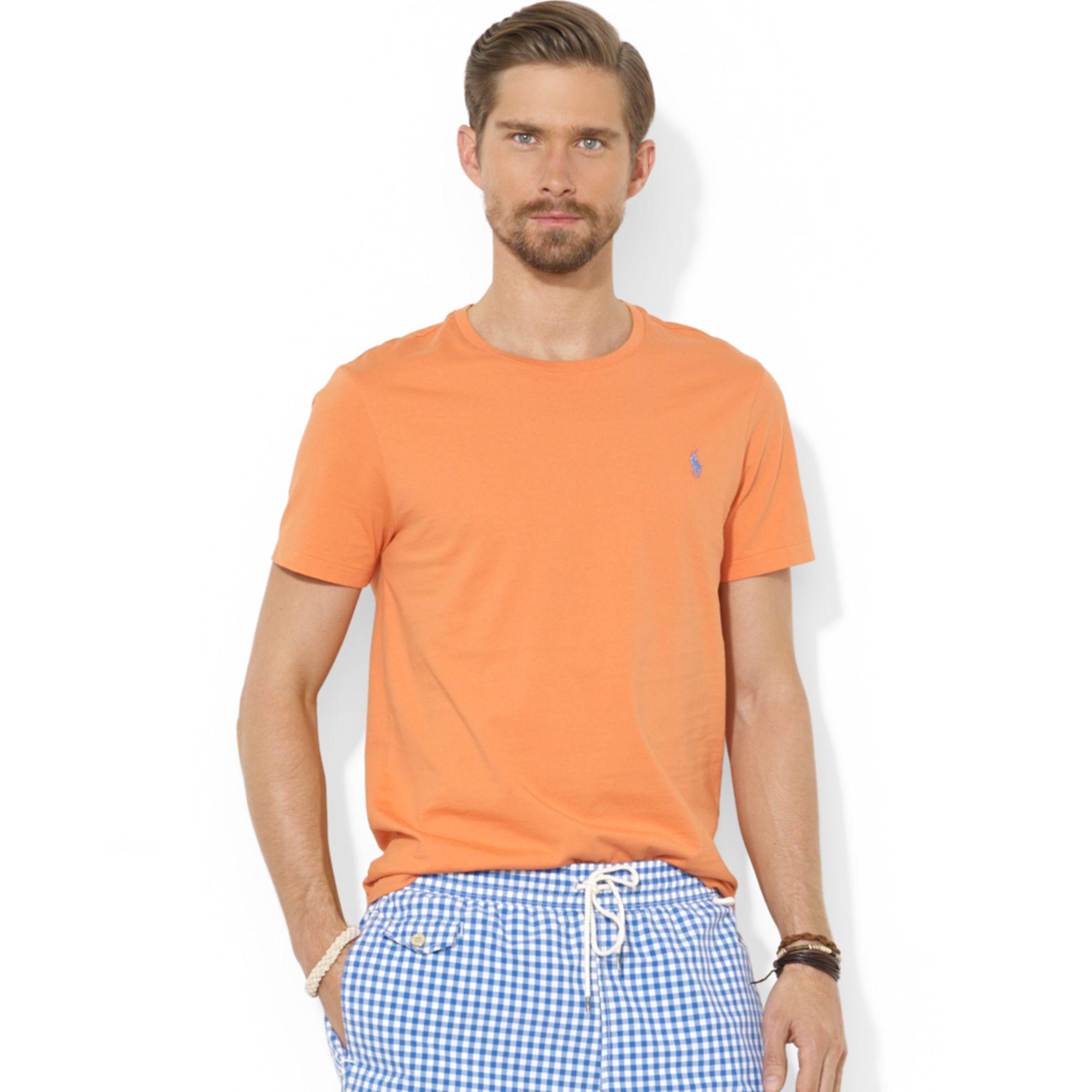 Ralph lauren polo custom fit cotton jersey t shirt in for Ralph lauren polo jersey shirt