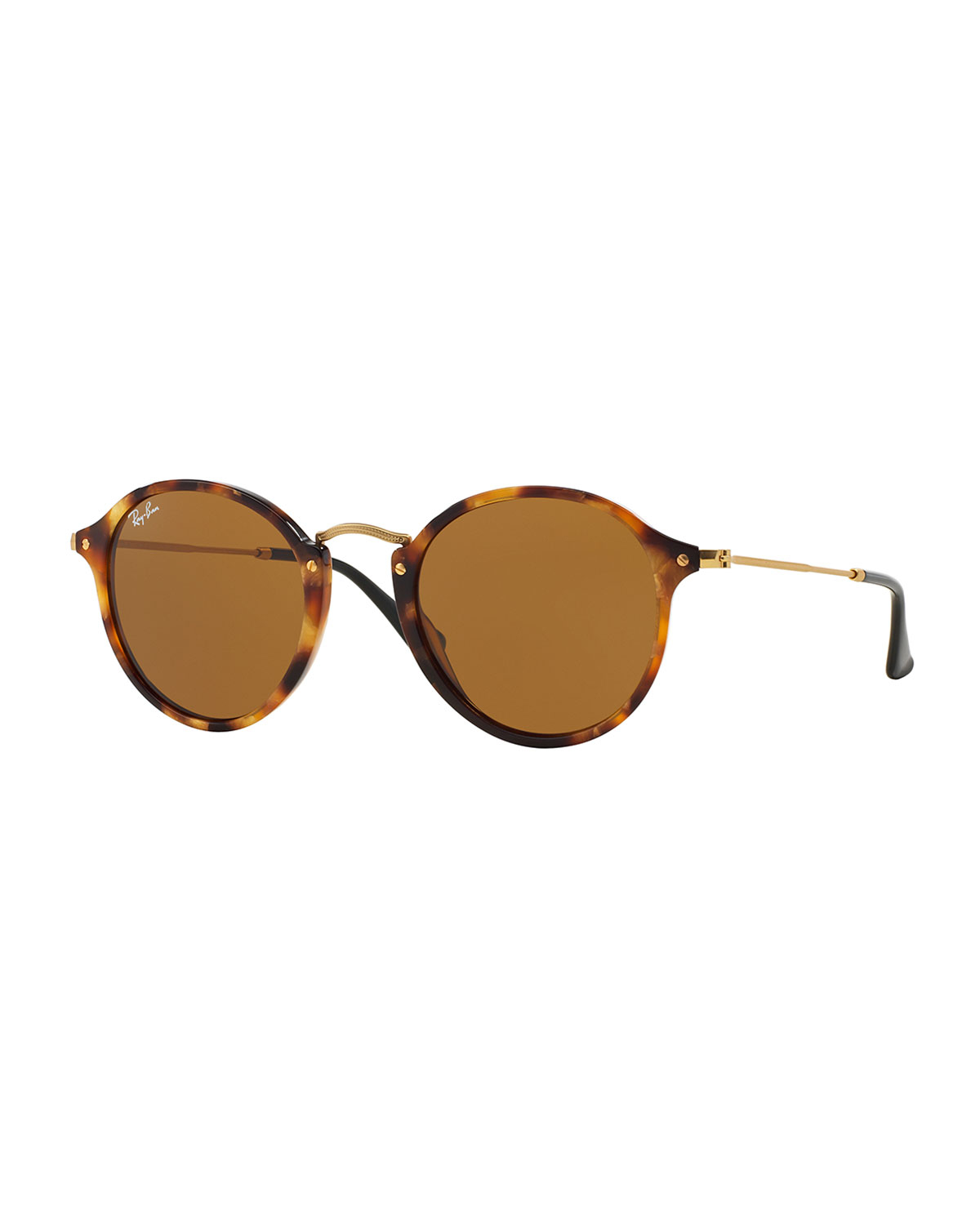 ray ban round plastic metal sunglasses in brown lyst. Black Bedroom Furniture Sets. Home Design Ideas