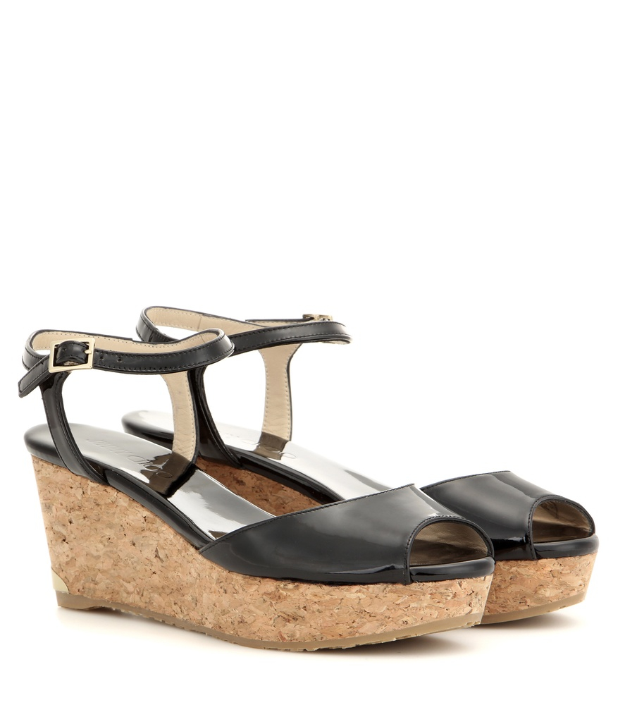 Jimmy Choo Perla Patent Leather Sandals In Black Lyst