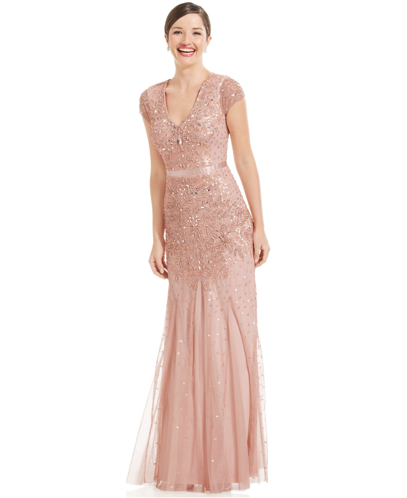 Papell cap sleeve beaded sequined gown dresses women macy s - Gallery Previously Sold At Macy S