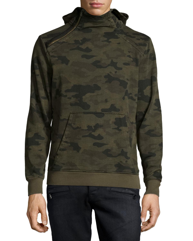 hudson archer camo print zip collar sweatshirt in