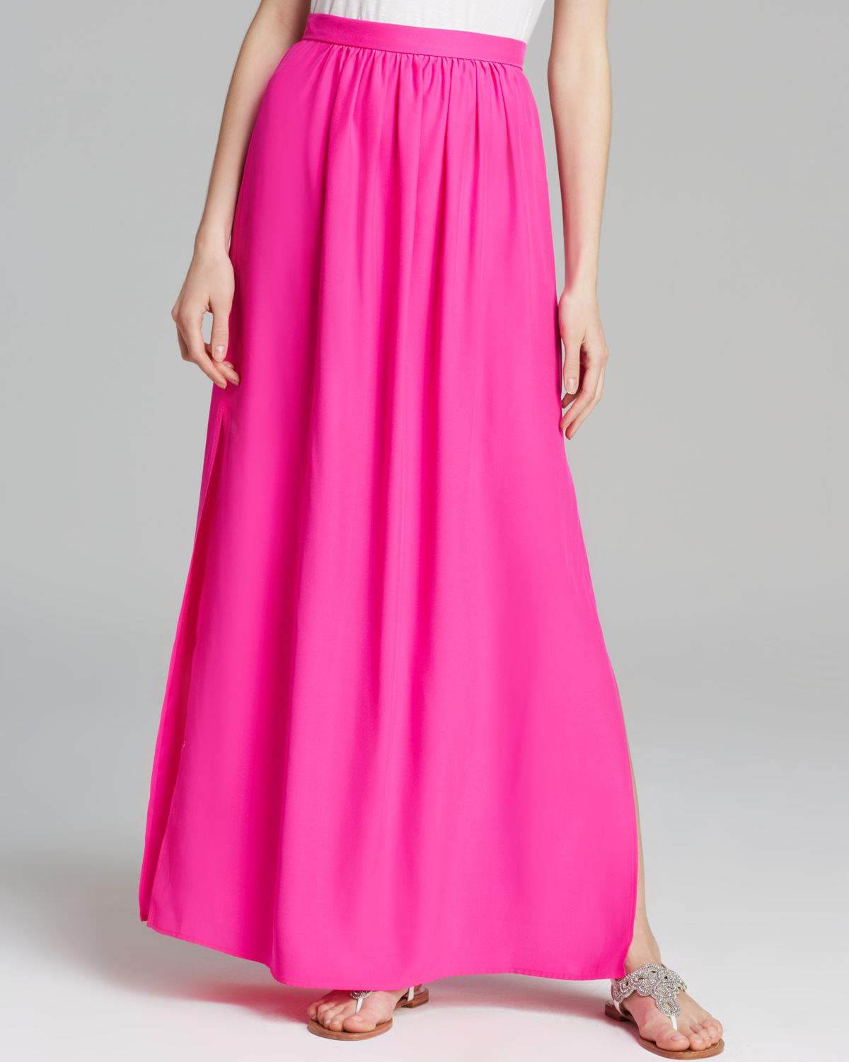 Amanda uprichard Maxi Skirt Slit Silk in Pink | Lyst
