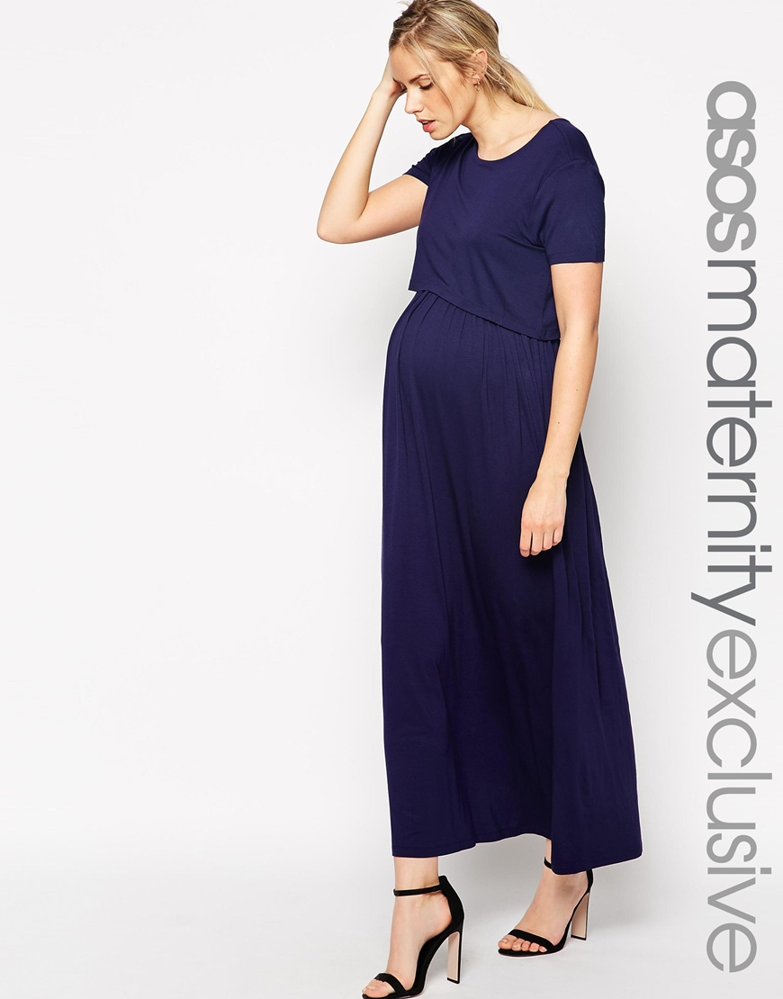 9b4a31a29b000 ASOS Nursing Maxi Dress With Double Layer in Blue - Lyst