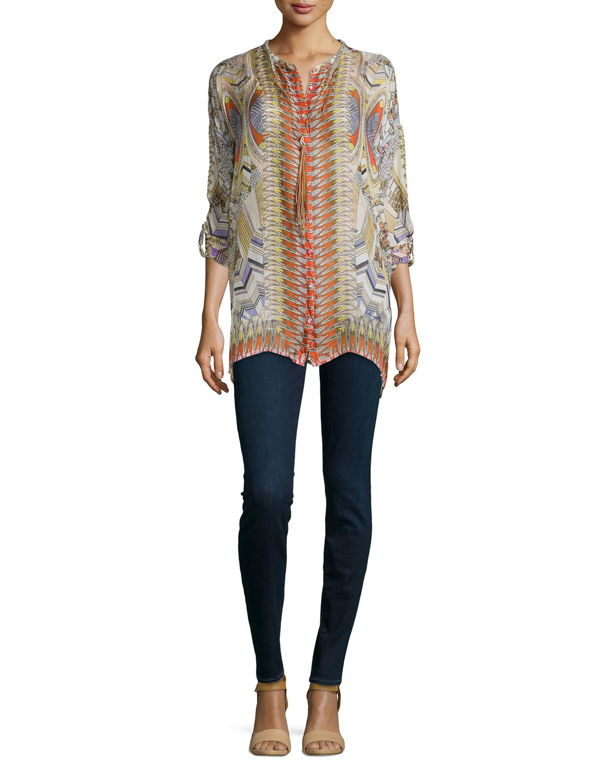 Johnny was feather print silk button front tunic lyst for Johnny was silk shirt